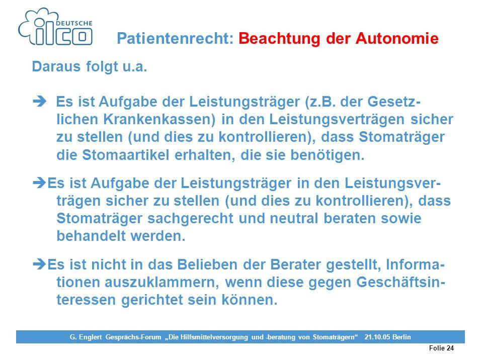 Patientenrecht: Beachtung der Autonomie