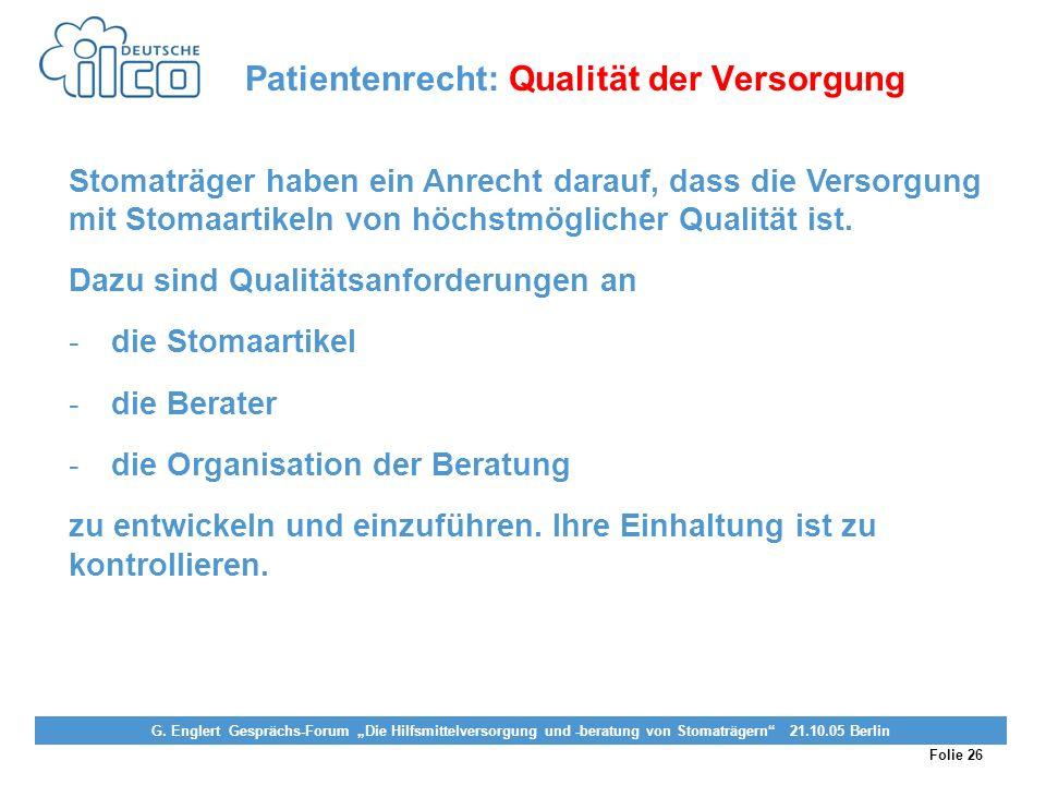 Patientenrecht: Qualität der Versorgung