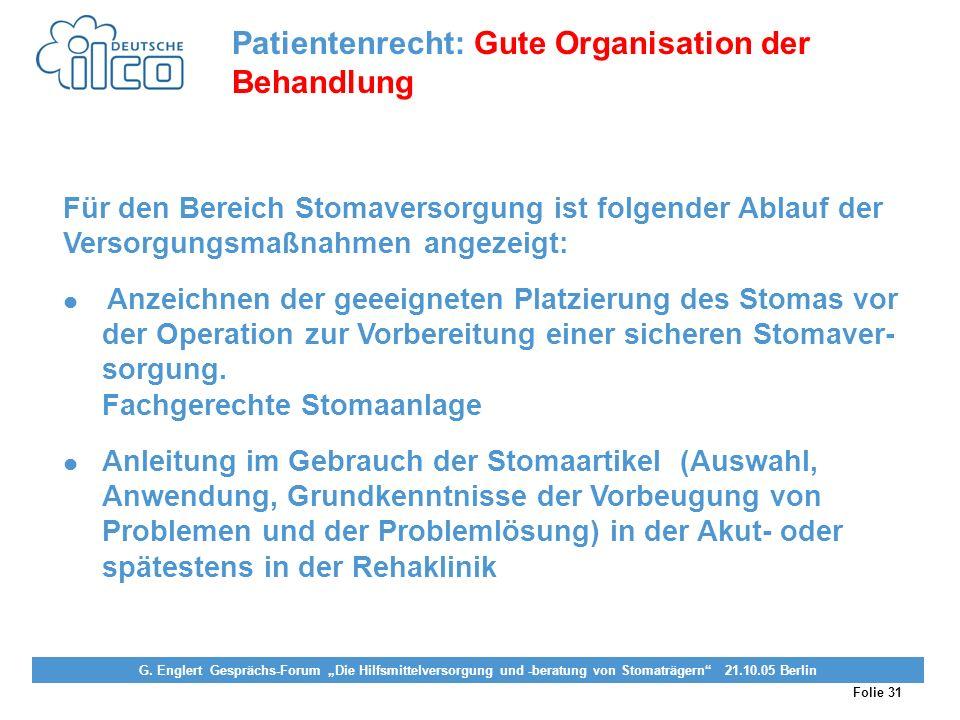 Patientenrecht: Gute Organisation der Behandlung