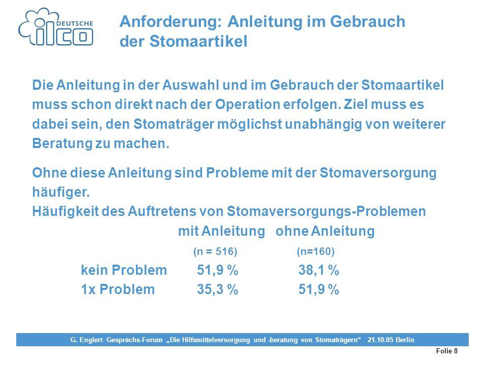 Anforderung: Anleitung im Gebrauch der Stomaartikel