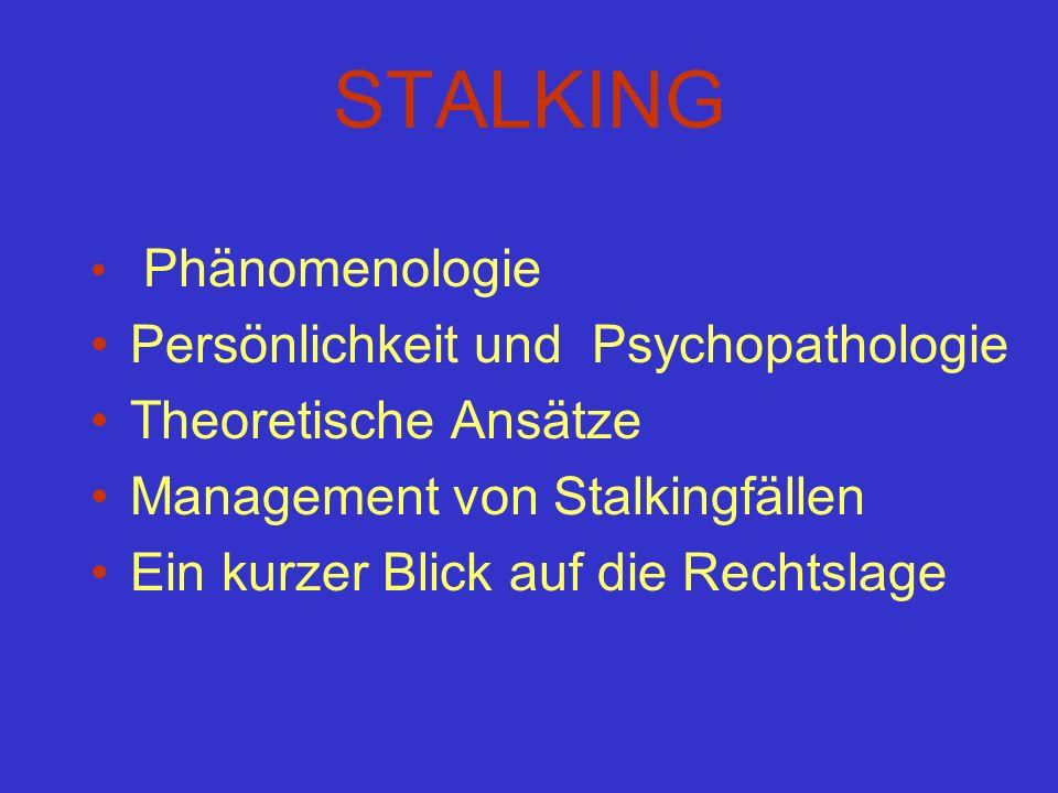 STALKING Persönlichkeit und Psychopathologie Theoretische Ansätze