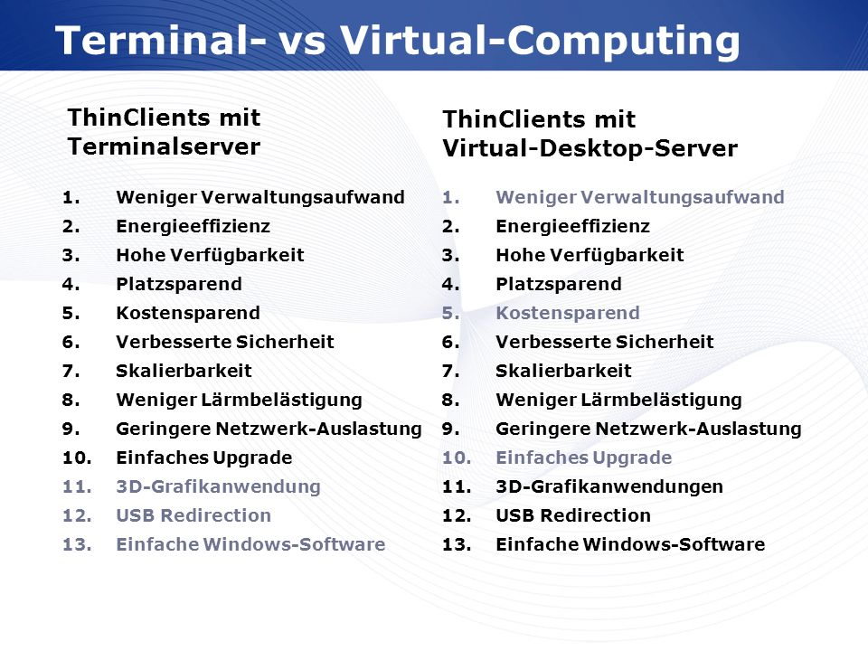 Terminal- vs Virtual-Computing