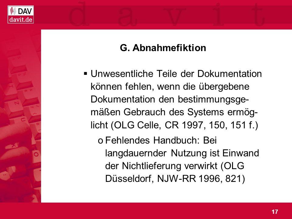 G. Abnahmefiktion