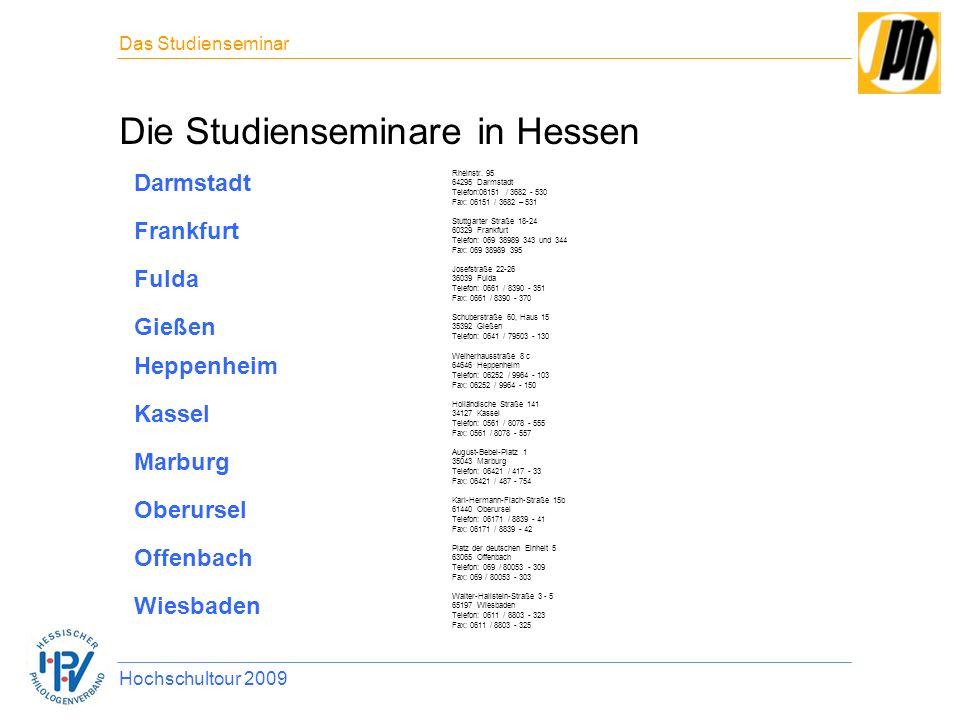 Die Studienseminare in Hessen