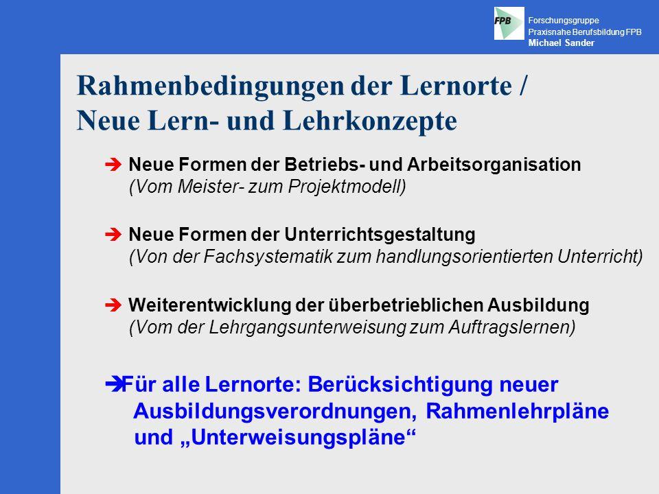 Rahmenbedingungen der Lernorte / Neue Lern- und Lehrkonzepte