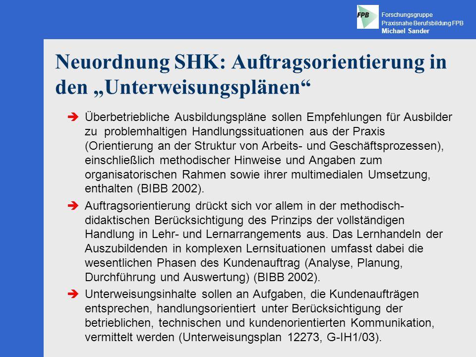 """Neuordnung SHK: Auftragsorientierung in den """"Unterweisungsplänen"""