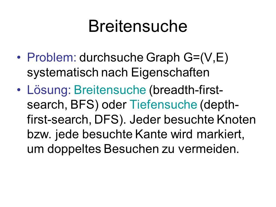 Breitensuche Problem: durchsuche Graph G=(V,E) systematisch nach Eigenschaften.
