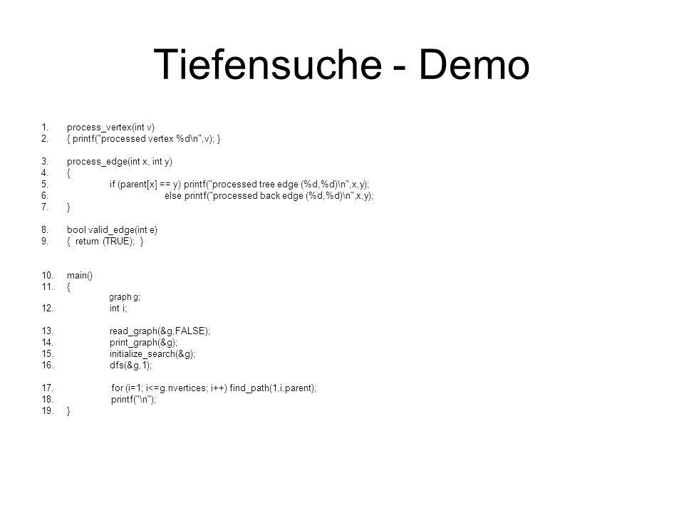 Tiefensuche - Demo process_vertex(int v)