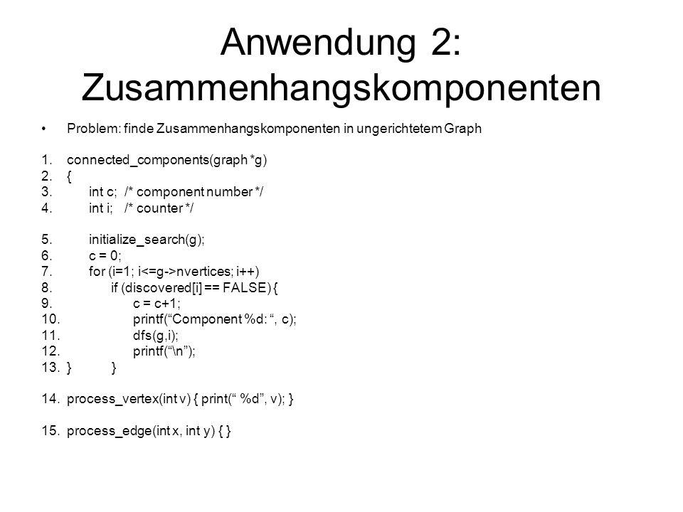 Anwendung 2: Zusammenhangskomponenten