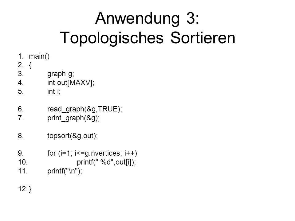 Anwendung 3: Topologisches Sortieren