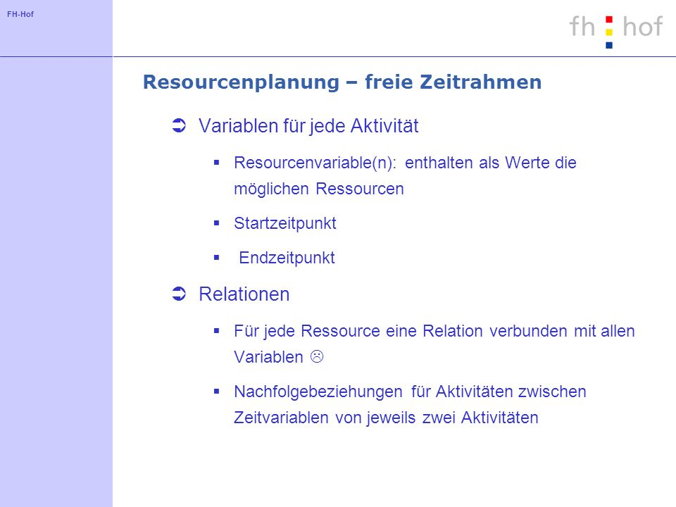 Resourcenplanung – freie Zeitrahmen