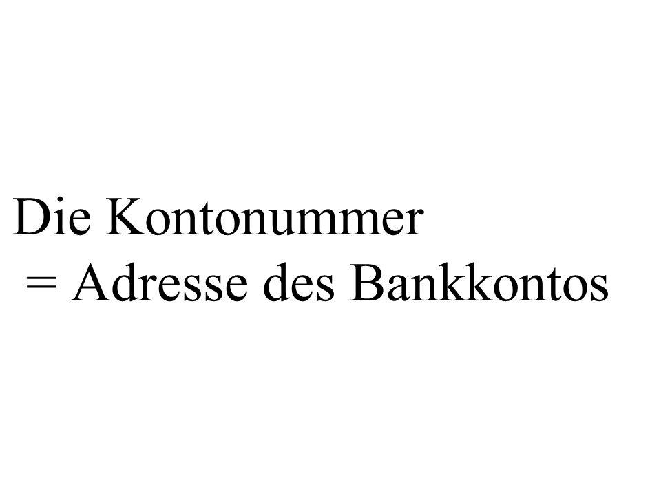 Die Kontonummer = Adresse des Bankkontos