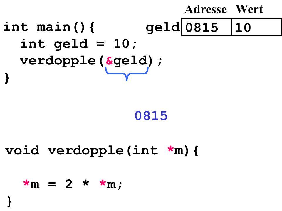 void verdopple(int *m){ *m = 2 * *m; }