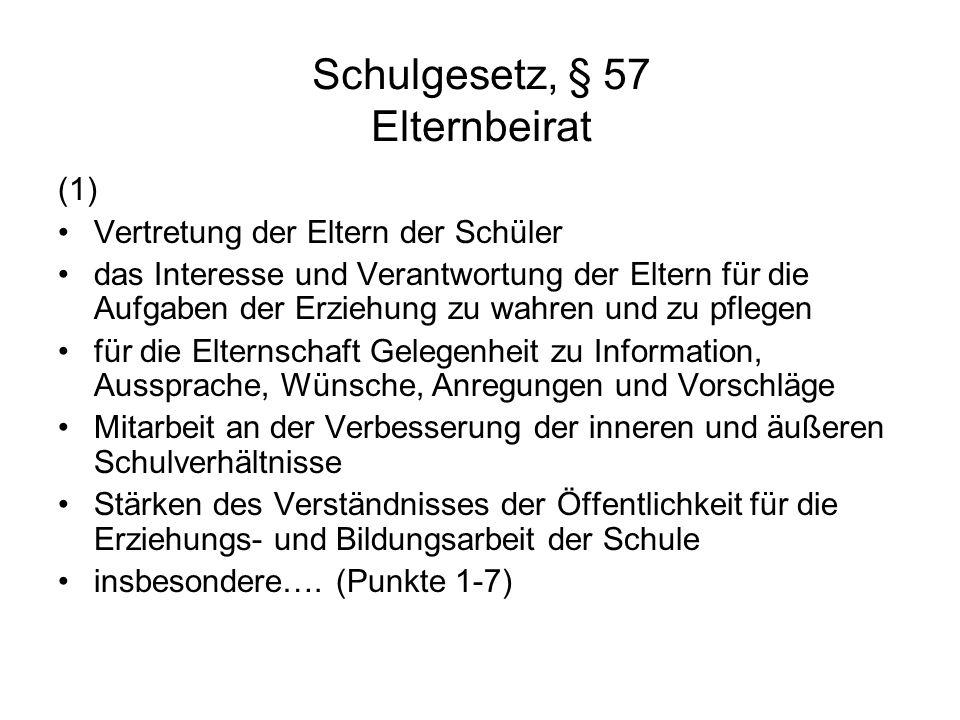 Schulgesetz, § 57 Elternbeirat