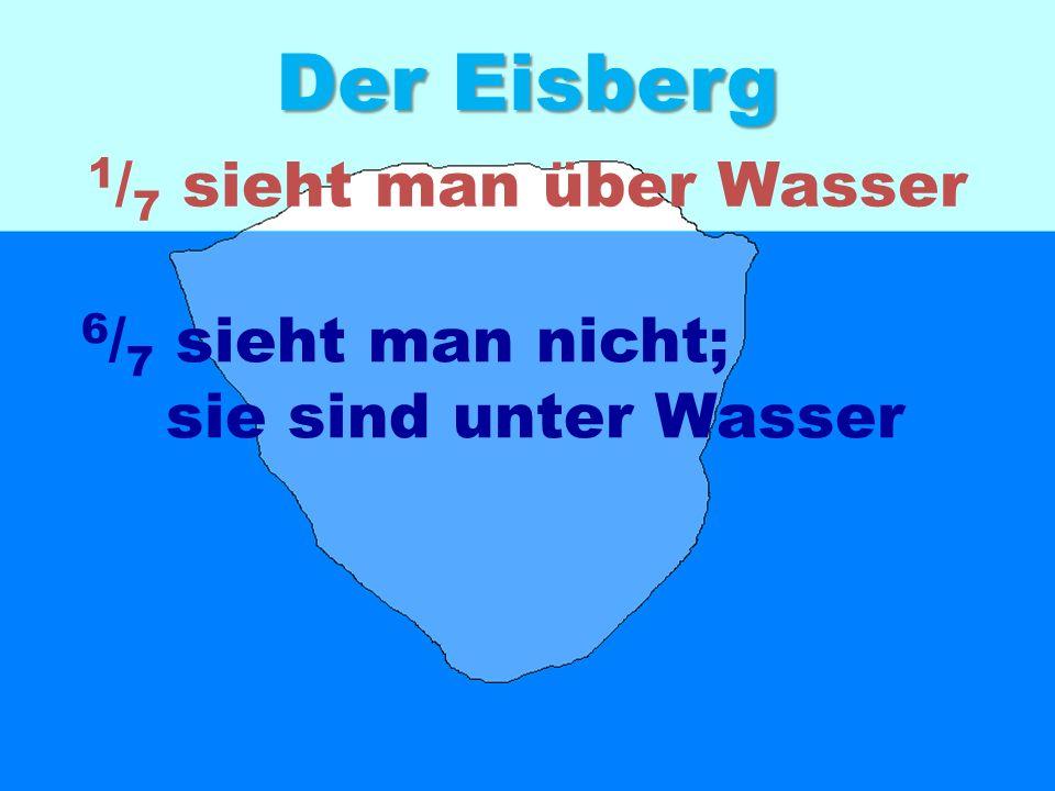 Der Eisberg 1/7 sieht man über Wasser