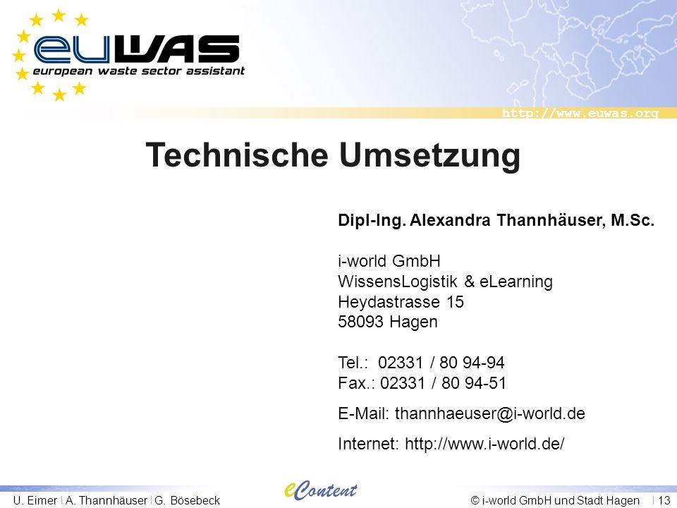 Technische Umsetzung Dipl-Ing. Alexandra Thannhäuser, M.Sc.