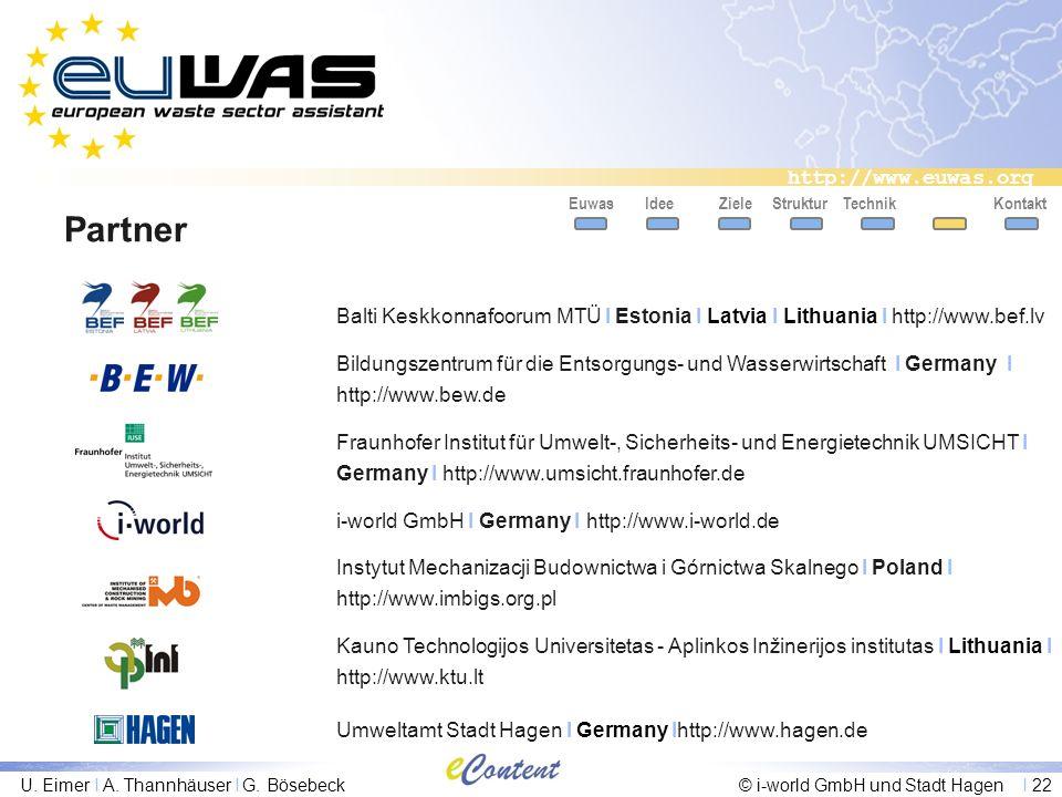 Euwas Idee. Ziele. Struktur. Technik. Kontakt. Partner. Balti Keskkonnafoorum MTÜ I Estonia I Latvia I Lithuania I http://www.bef.lv.