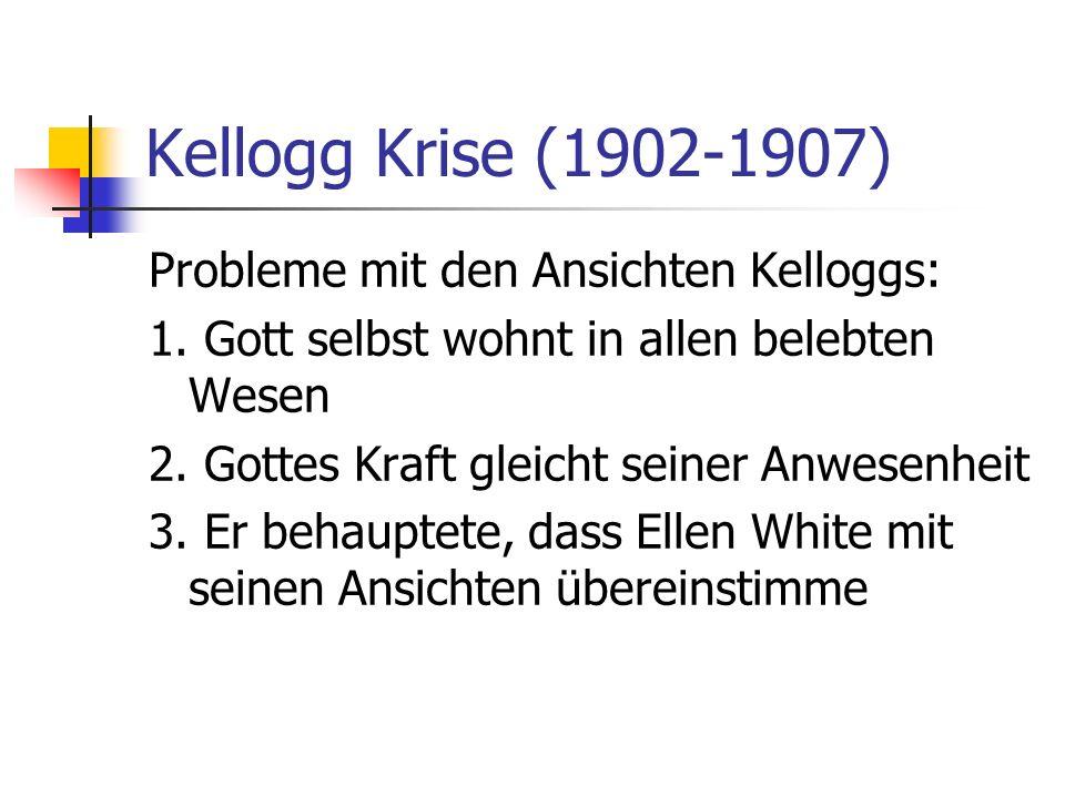 Kellogg Krise (1902-1907) Probleme mit den Ansichten Kelloggs: