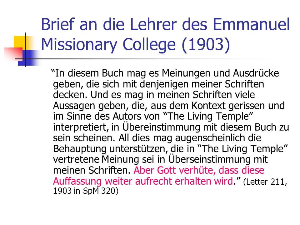 Brief an die Lehrer des Emmanuel Missionary College (1903)