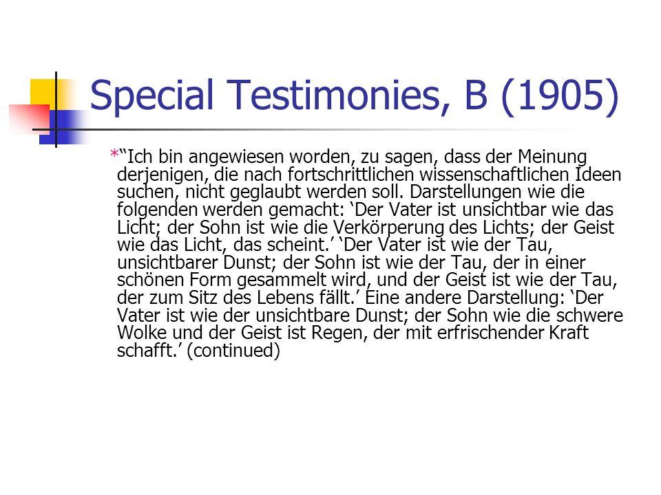 Special Testimonies, B (1905)