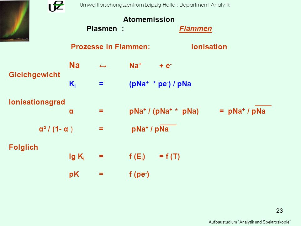 Prozesse in Flammen: Ionisation