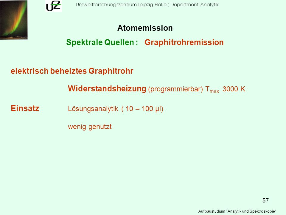 Spektrale Quellen : Graphitrohremission