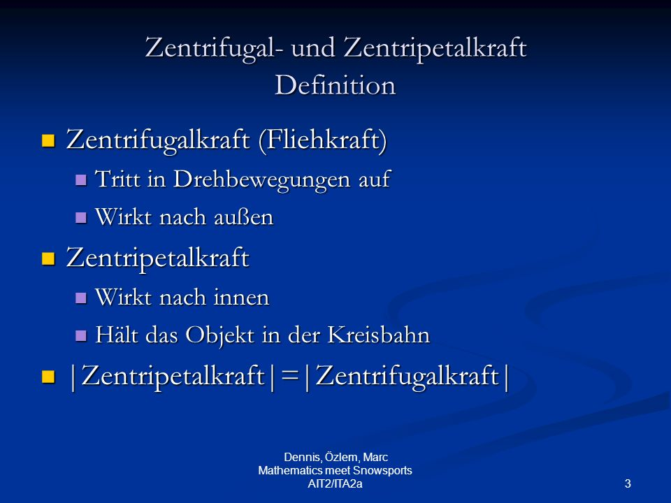 Zentrifugal- und Zentripetalkraft Definition
