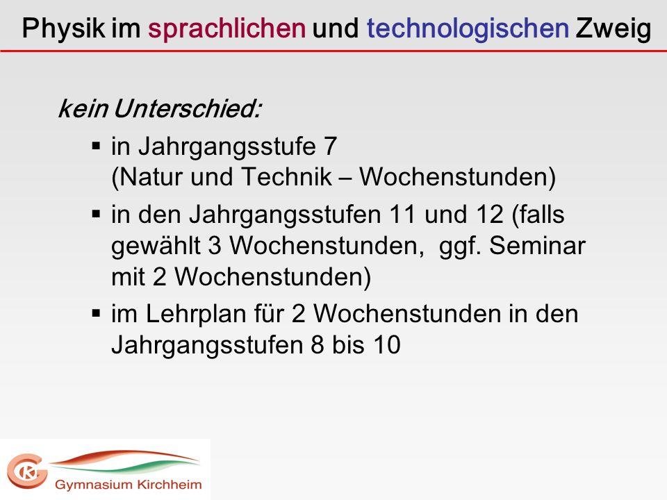 Physik im sprachlichen und technologischen Zweig