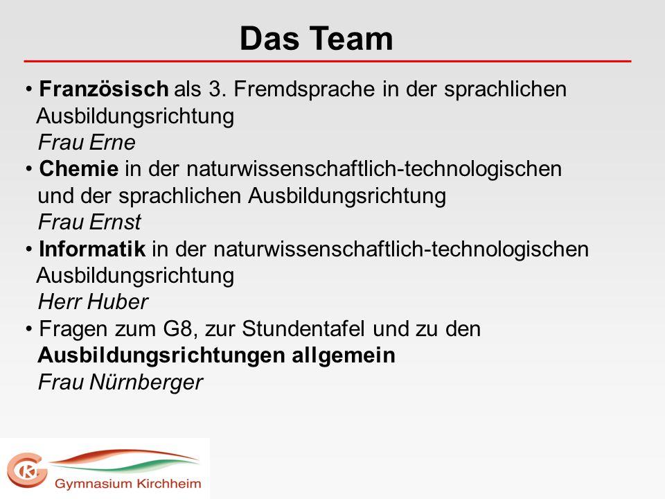 Das Team Französisch als 3. Fremdsprache in der sprachlichen Ausbildungsrichtung Frau Erne.