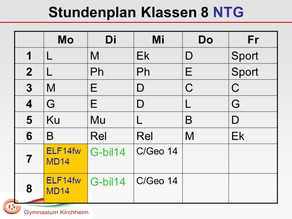 Stundenplan Klassen 8 NTG