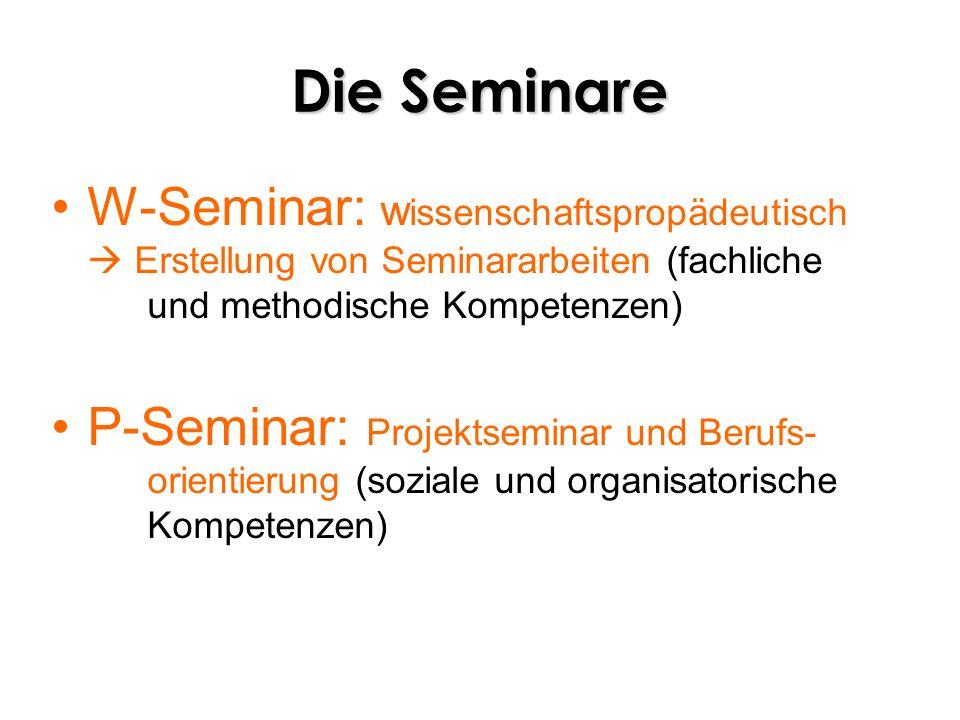 Die Seminare W-Seminar: wissenschaftspropädeutisch  Erstellung von Seminararbeiten (fachliche und methodische Kompetenzen)