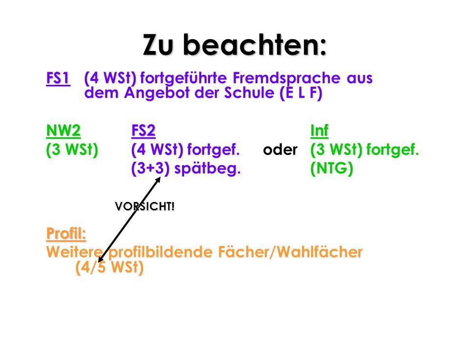 Zu beachten: FS1 (4 WSt) fortgeführte Fremdsprache aus dem Angebot der Schule (E L F) NW2 FS2 Inf.