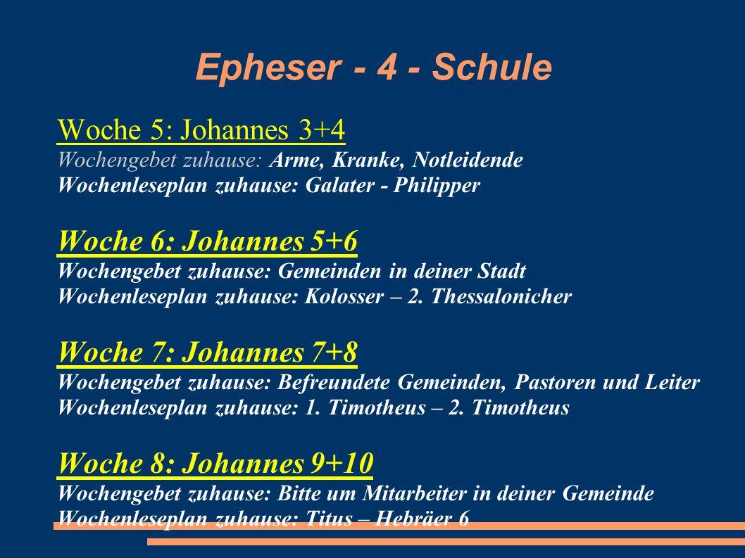 Epheser - 4 - Schule Woche 5: Johannes 3+4 Woche 6: Johannes 5+6