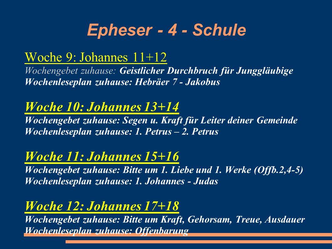 Epheser - 4 - Schule Woche 9: Johannes 11+12 Woche 10: Johannes 13+14