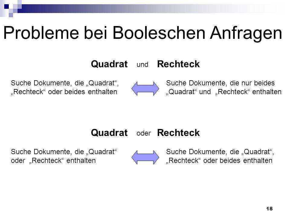 Probleme bei Booleschen Anfragen