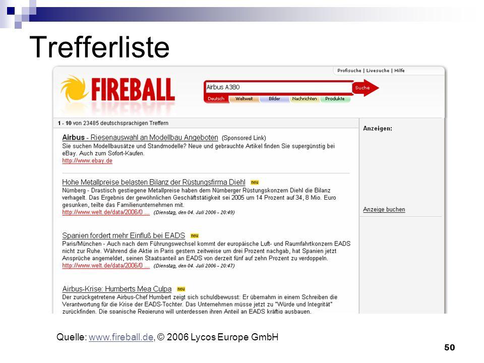 Trefferliste Quelle: www.fireball.de, © 2006 Lycos Europe GmbH