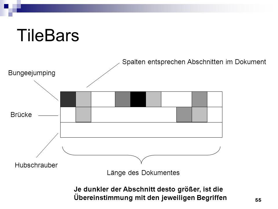 TileBars Spalten entsprechen Abschnitten im Dokument Bungeejumping
