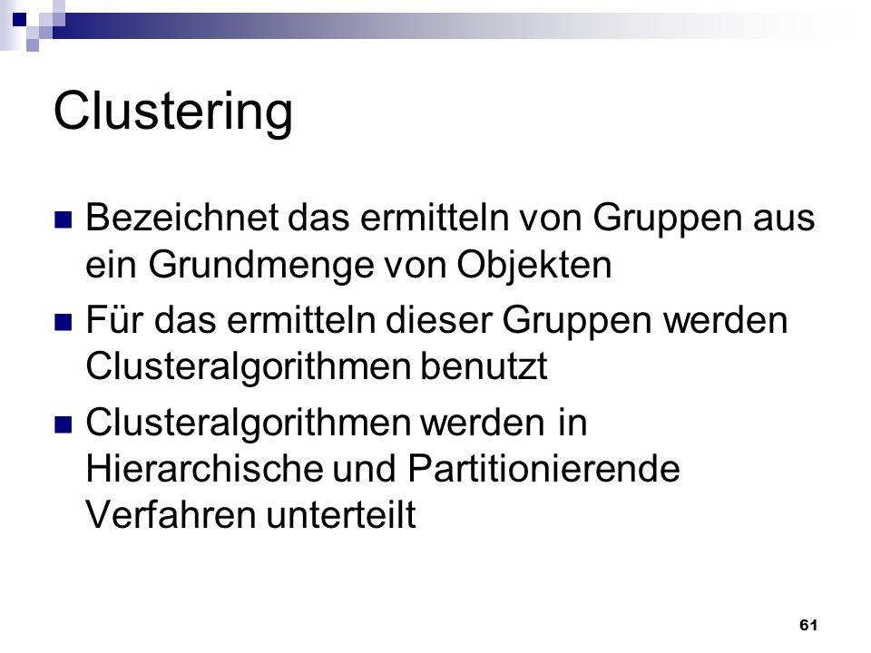 Clustering Bezeichnet das ermitteln von Gruppen aus ein Grundmenge von Objekten. Für das ermitteln dieser Gruppen werden Clusteralgorithmen benutzt.