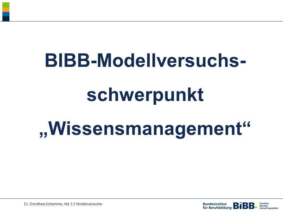 "BIBB-Modellversuchs-schwerpunkt ""Wissensmanagement"