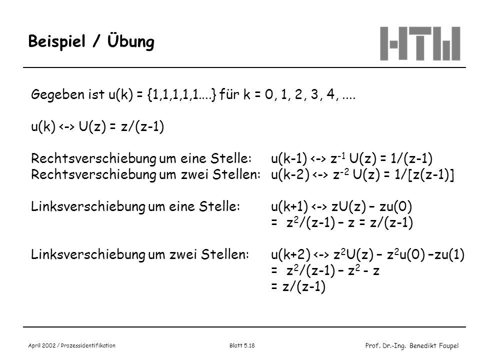 Beispiel / Übung Gegeben ist u(k) = {1,1,1,1,1....} für k = 0, 1, 2, 3, 4, .... u(k) <-> U(z) = z/(z-1)
