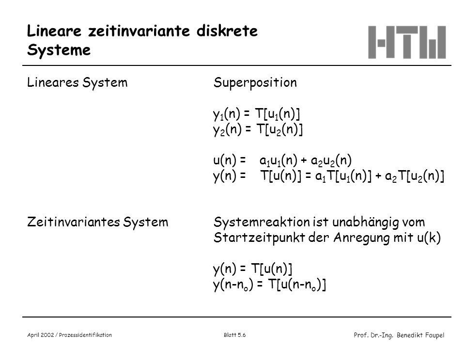 Lineare zeitinvariante diskrete Systeme