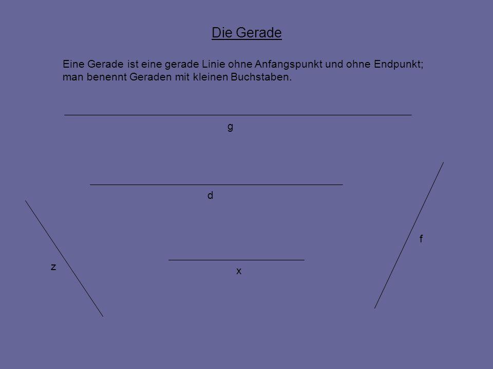 Die GeradeEine Gerade ist eine gerade Linie ohne Anfangspunkt und ohne Endpunkt; man benennt Geraden mit kleinen Buchstaben.