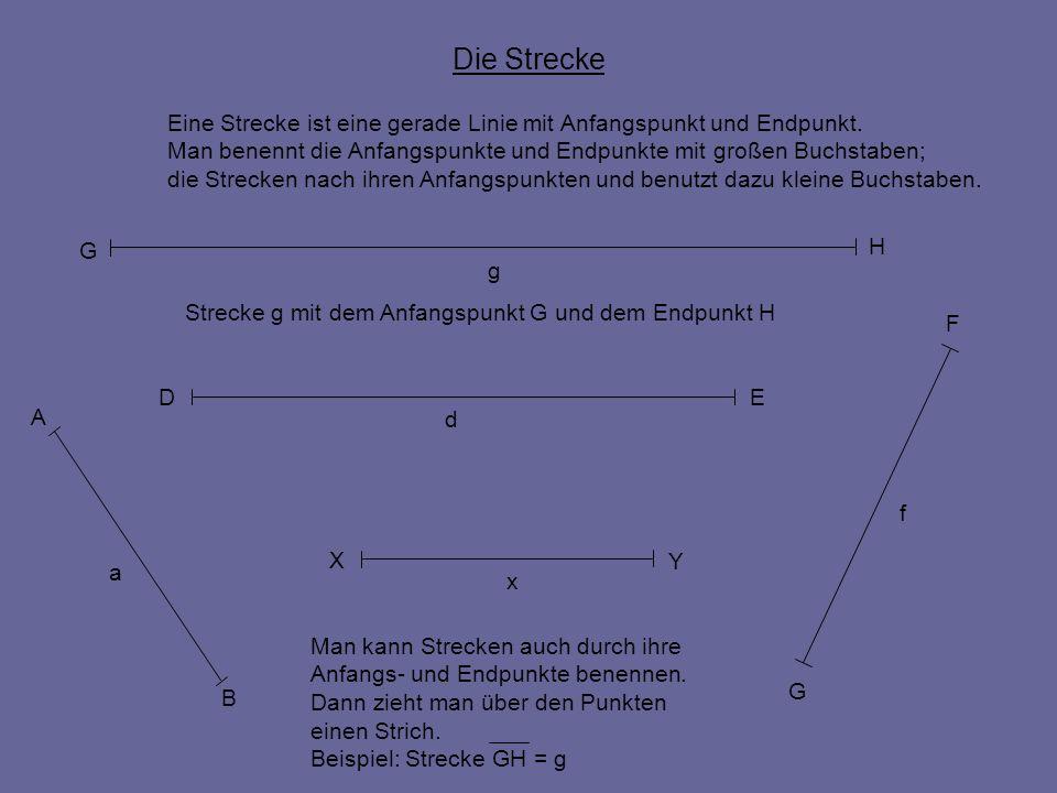Die StreckeEine Strecke ist eine gerade Linie mit Anfangspunkt und Endpunkt. Man benennt die Anfangspunkte und Endpunkte mit großen Buchstaben;