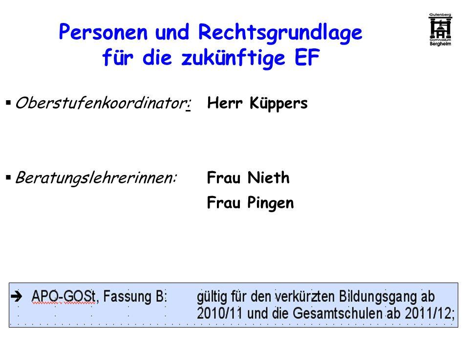 Personen und Rechtsgrundlage für die zukünftige EF