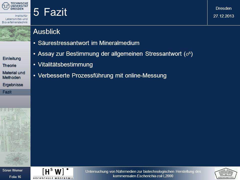 5 Fazit Ausblick Säurestressantwort im Mineralmedium
