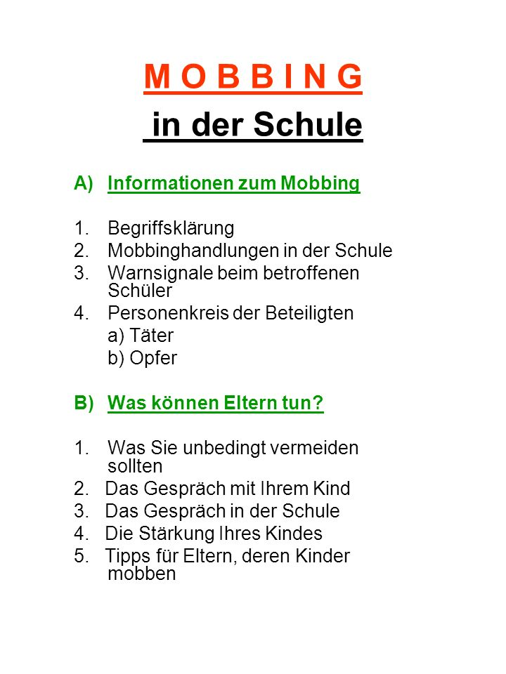 M O B B I N G in der Schule Informationen zum Mobbing
