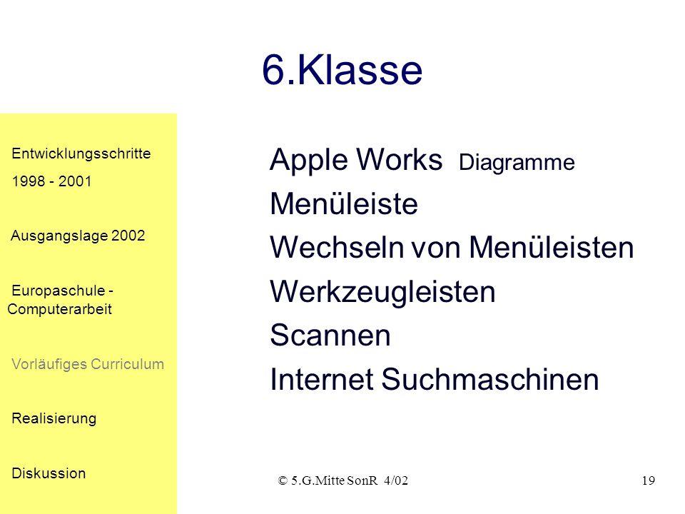 6.Klasse Apple Works Diagramme Menüleiste Wechseln von Menüleisten