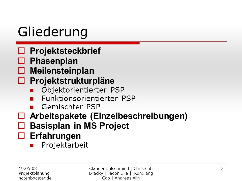 Gliederung Projektsteckbrief Phasenplan Meilensteinplan
