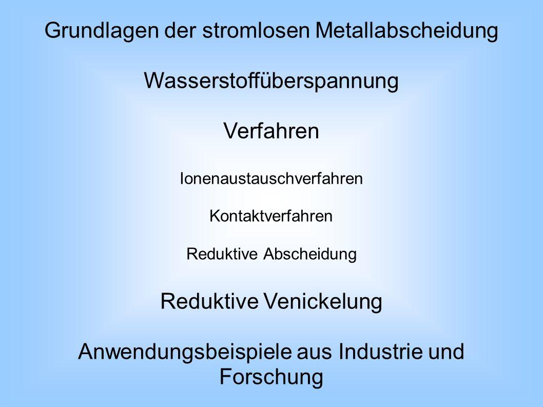 Grundlagen der stromlosen Metallabscheidung Wasserstoffüberspannung