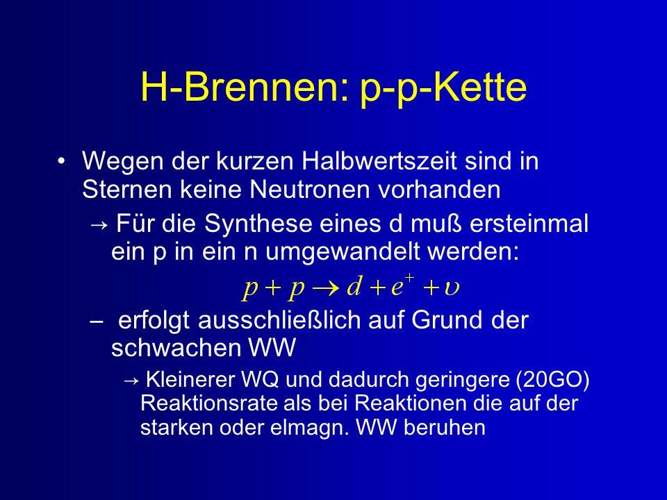 H-Brennen: p-p-Kette Wegen der kurzen Halbwertszeit sind in Sternen keine Neutronen vorhanden.